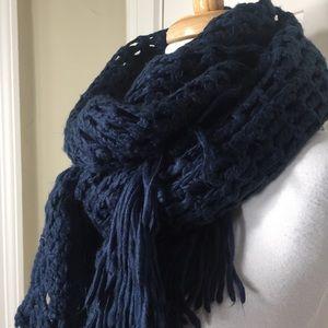 Anthropologie Tullette Teal open knit scarf fringe